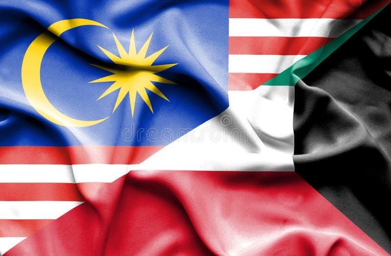 科威特和马来西亚的挥动的旗子 库存例证
