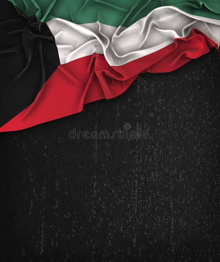 科威特在一个难看的东西黑色黑板的旗子葡萄酒有空间的为 向量例证