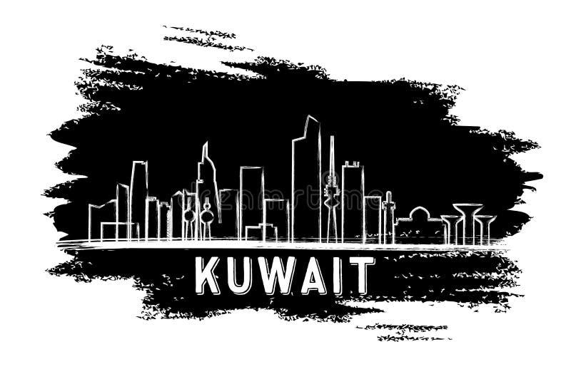 科威特地平线剪影 手拉的草图 库存例证