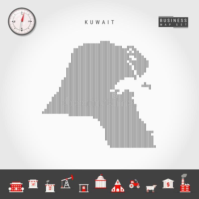 科威特的传染媒介垂直线地图 科威特的镶边剪影 现实指南针 r 向量例证
