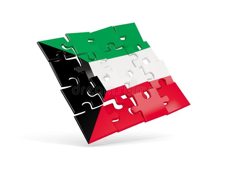 科威特的难题旗子在白色隔绝了 库存例证