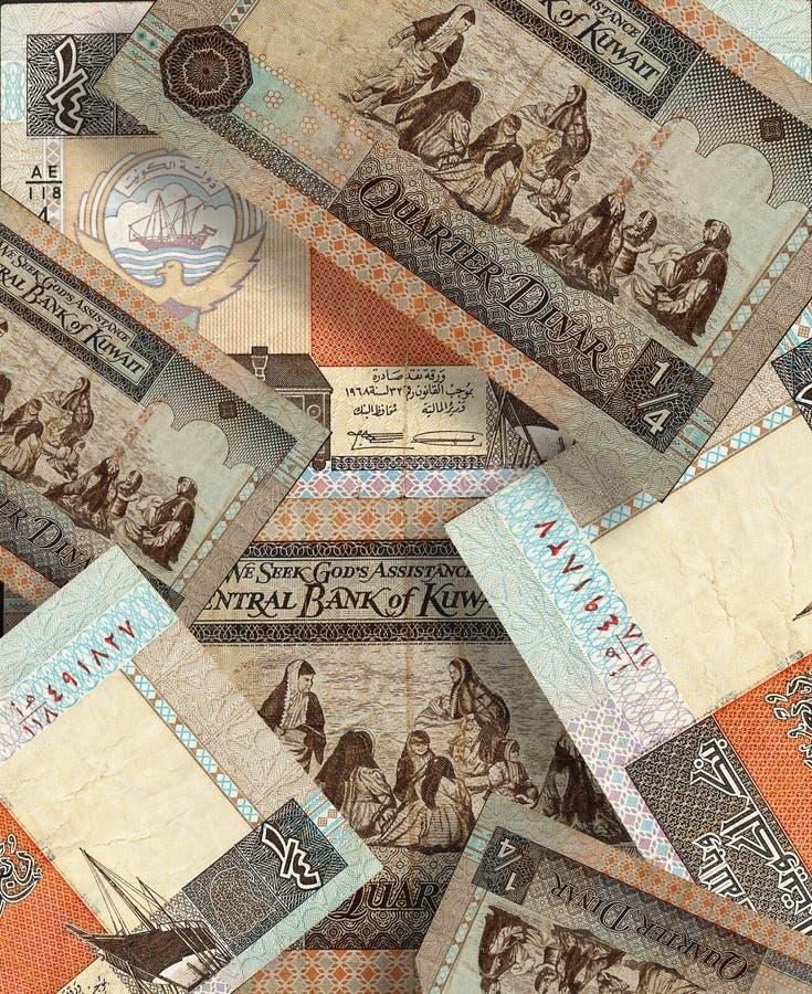 科威特第纳尔 货币拼贴画 库存照片