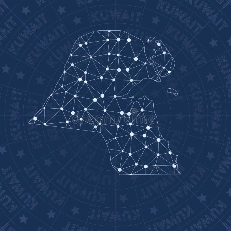 科威特网络,星座样式国家地图 库存例证