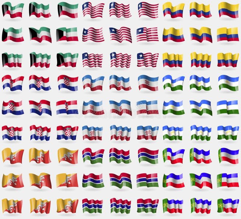 科威特,利比里亚,哥伦比亚,克罗地亚,马里埃尔共和国,巴什科尔托斯坦共和国,不丹,冈比亚,哈卡斯共和国 大套81面旗子 皇族释放例证