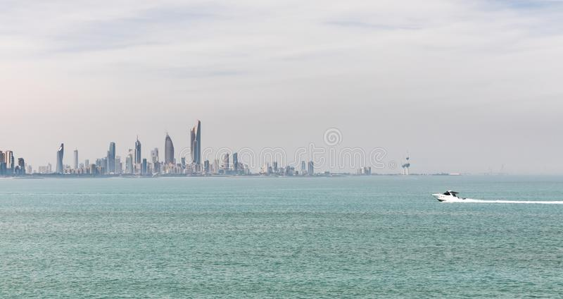 科威特` s海岸线和地平线 库存照片