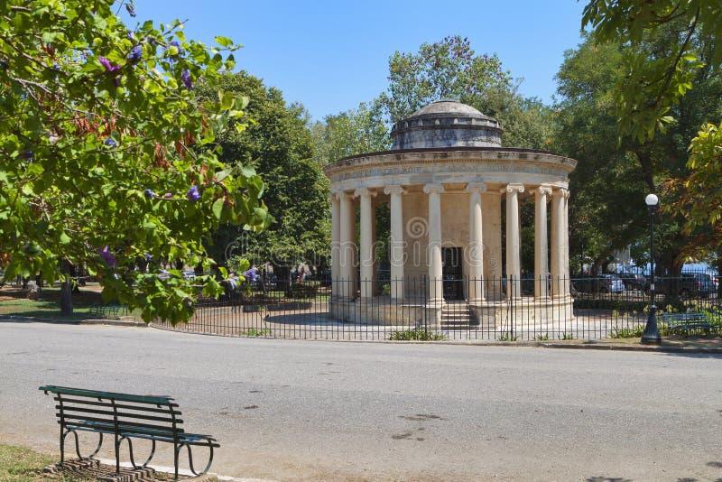 科孚岛海岛的公园在希腊 免版税库存照片