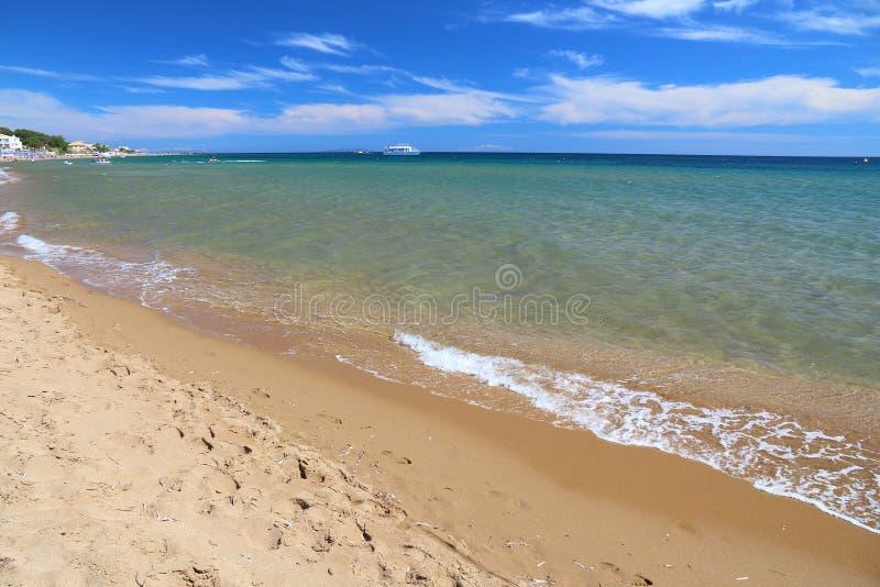 科孚岛海滩 免版税图库摄影