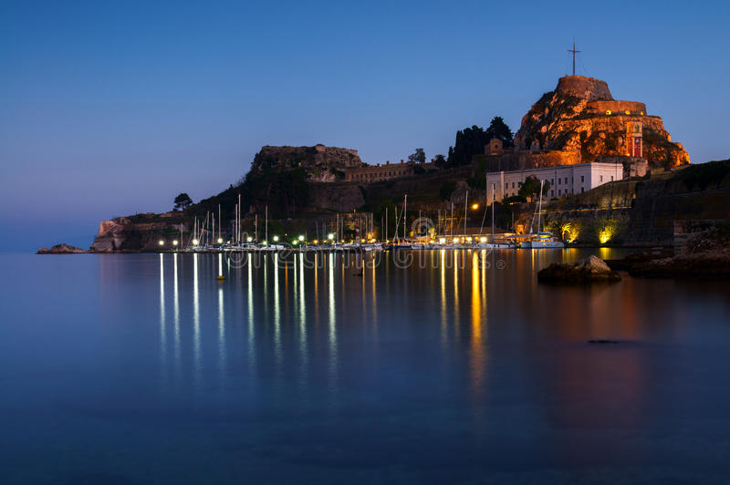 科孚岛老堡垒在科孚岛,希腊 库存图片
