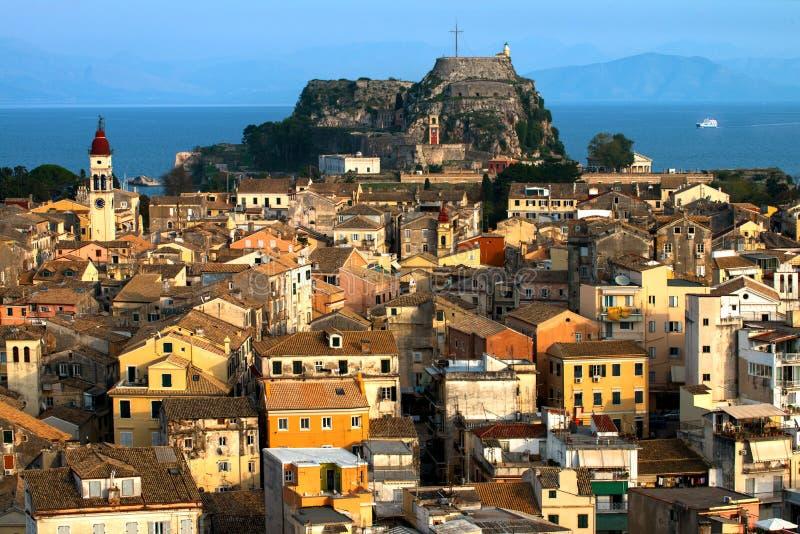 科孚岛老堡垒在科孚岛,希腊 免版税库存照片