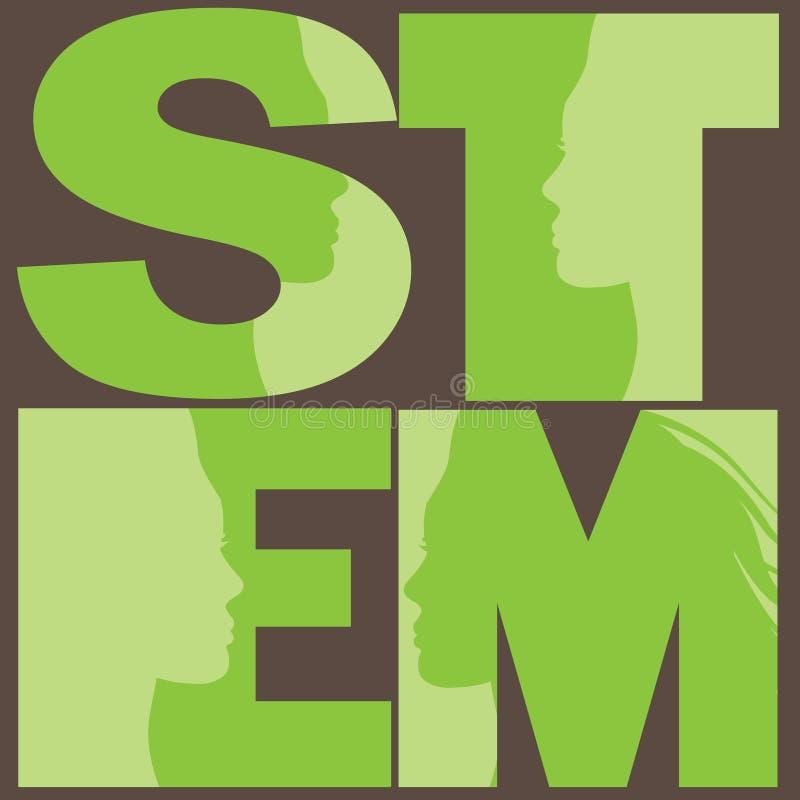 科学、技术、工程学和算术EPS 10传染媒介的妇女 向量例证