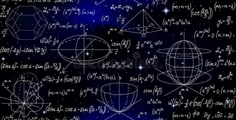 科学与惯例的算术不尽的纹理在满天星斗的空间天空 皇族释放例证