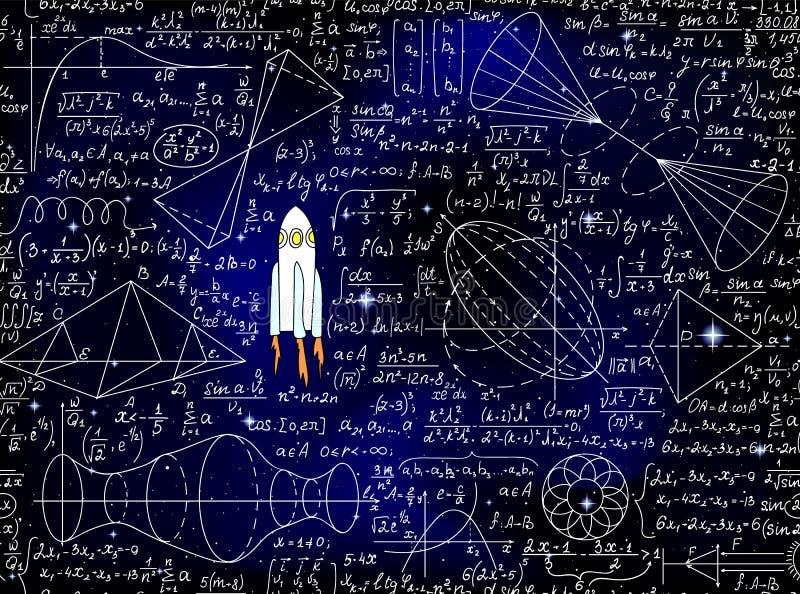 科学与手写的数学和物理惯例、火箭和图的传染媒介无缝的背景 向量例证