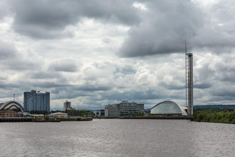 科学中心、犰狳和冠广场饭店,格拉斯哥, Scotla 免版税库存照片