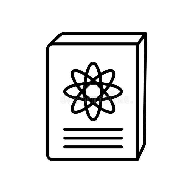 科学书在白色背景,科学书标志、标志和标志隔绝的象传染媒介在稀薄的线性概述样式 向量例证