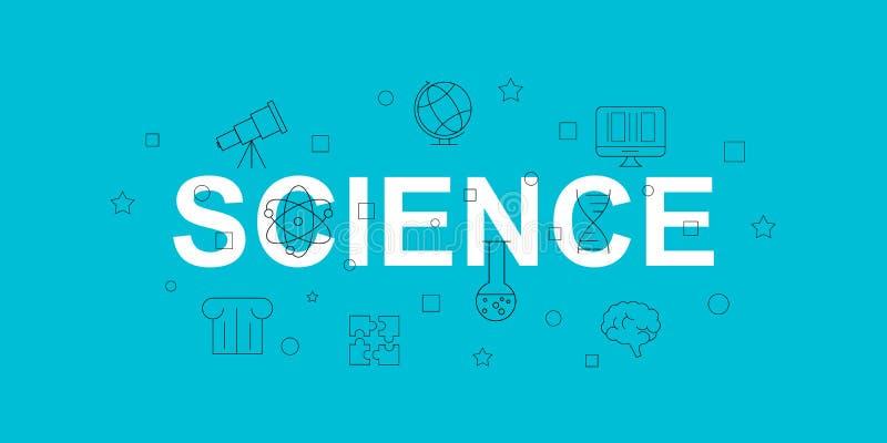 科学传染媒介横幅 与线象的词 向量背景 库存例证