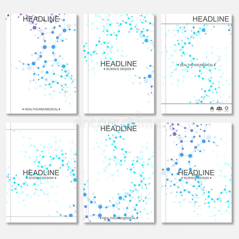 科学传染媒介背景 小册子的,飞行物,盖子杂志现代传染媒介模板 向量例证