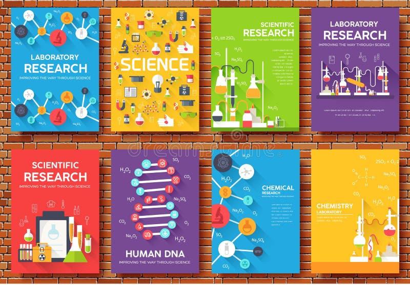 科学信息卡集 飞行物,杂志,海报,书套,横幅实验室模板  化学 向量例证