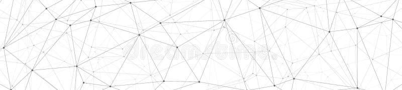 科学创新创造性的宽图表、数字变革向量图形小点和线连接横幅背景 向量例证
