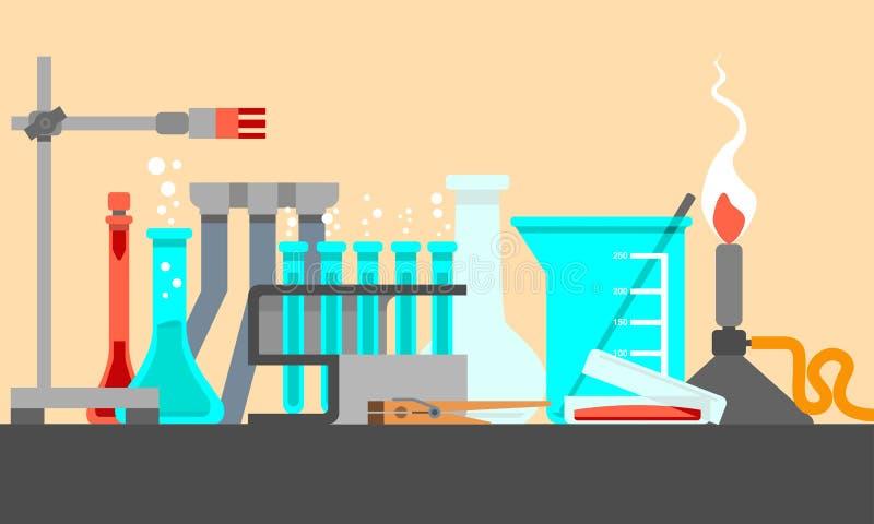 科学和实验室材料和工具在静物画构成 平的设计观念 也corel凹道例证向量 向量例证