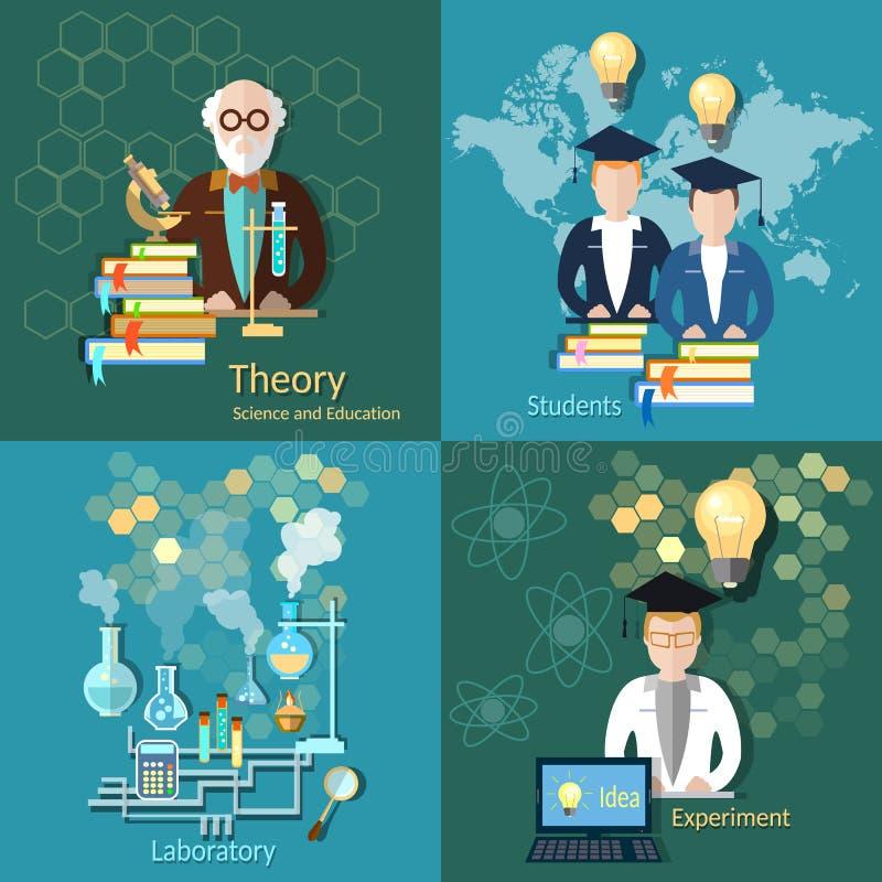 科学和教育,学生,学院,大学教授, 向量例证