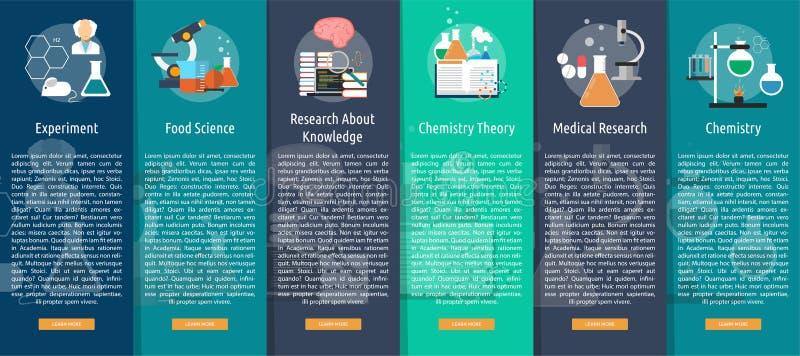 科学和研究垂直的横幅概念 向量例证