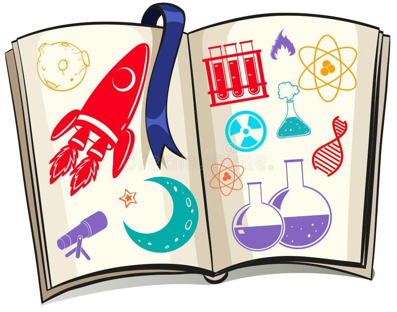 科学和techonolgy标志在书 向量例证