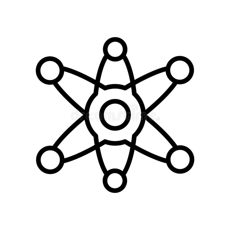 科学在白色背景、科学标志、线或者线性标志隔绝的象传染媒介,在概述样式的元素设计 库存例证