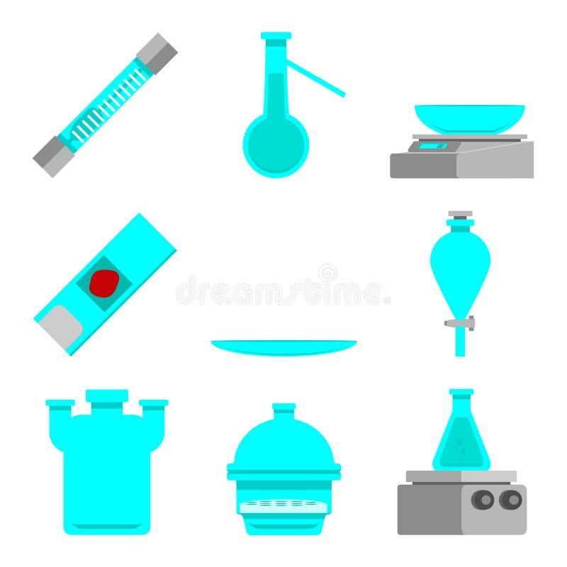 科学套实验室材料和工具 平的设计观念 也corel凹道例证向量 表面玻璃,干燥器,狼瓶, 皇族释放例证