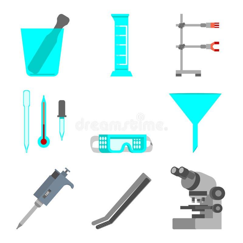 科学套实验室材料和工具 平的设计观念 导航例证显微镜,镊子,微球管, funn 向量例证