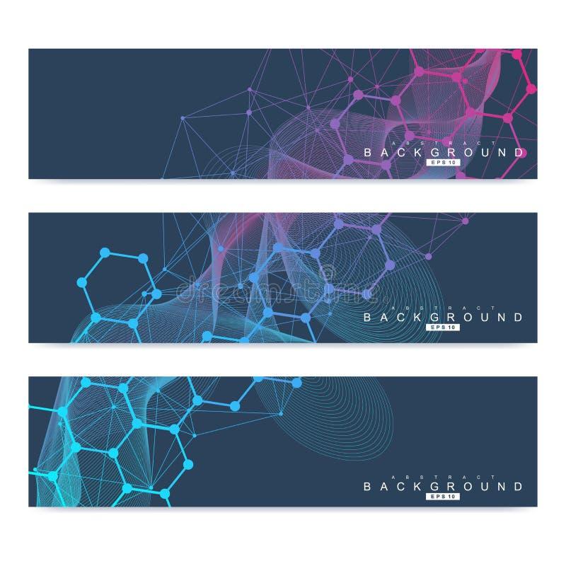 科学套现代传染媒介横幅 脱氧核糖核酸与被连接的线和小点的分子结构 科学传染媒介背景 向量例证