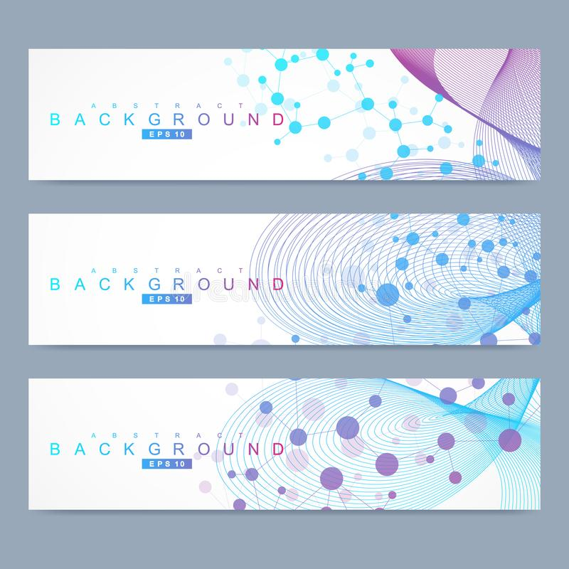 科学套现代传染媒介横幅 脱氧核糖核酸与被连接的线和小点的分子结构 科学传染媒介背景 皇族释放例证