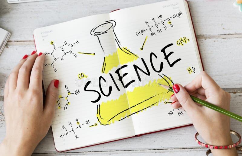 科学实验实验室惯例化学制品概念 免版税库存图片