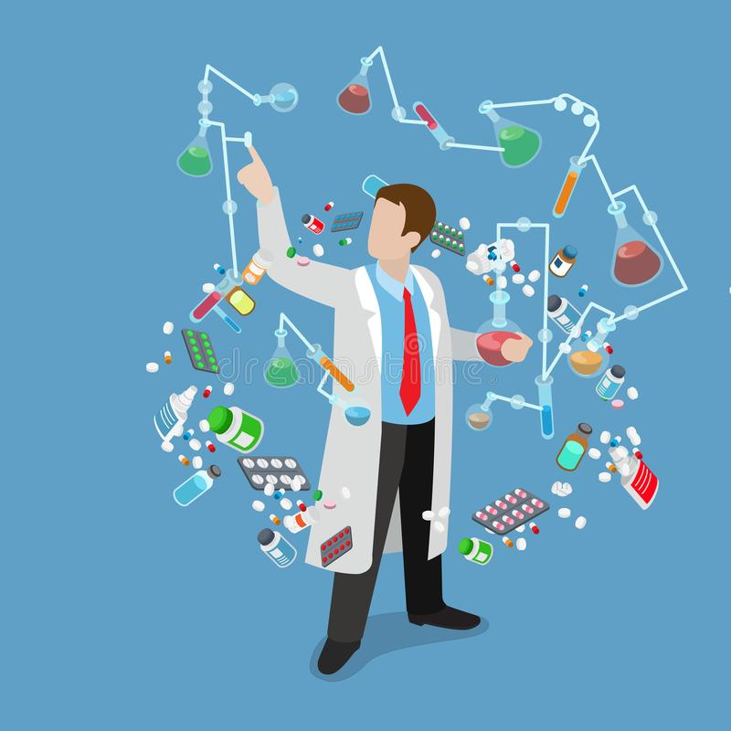 科学实验室实验研究化工平的isom 向量例证