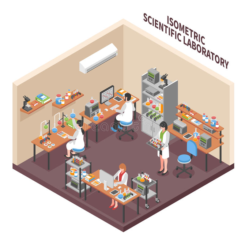 科学实验室环境构成 库存例证