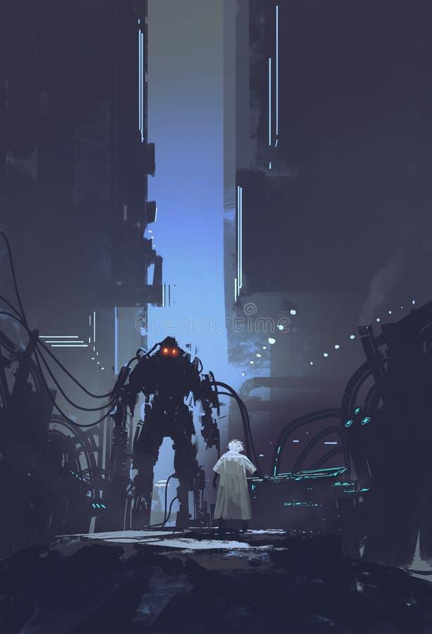科学家修造机器人在老工厂背景中 向量例证