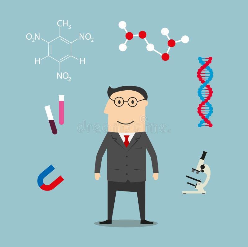 科学家和科学元素象 库存例证