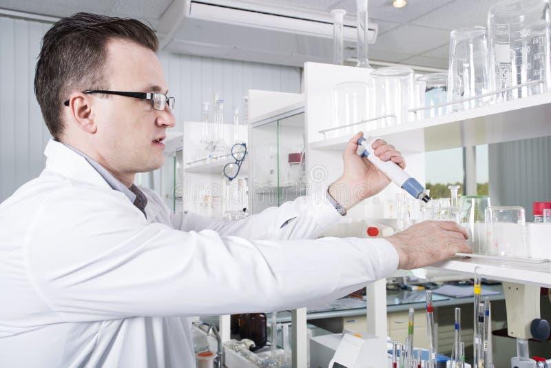 科学家在化工实验室工作 免版税库存图片