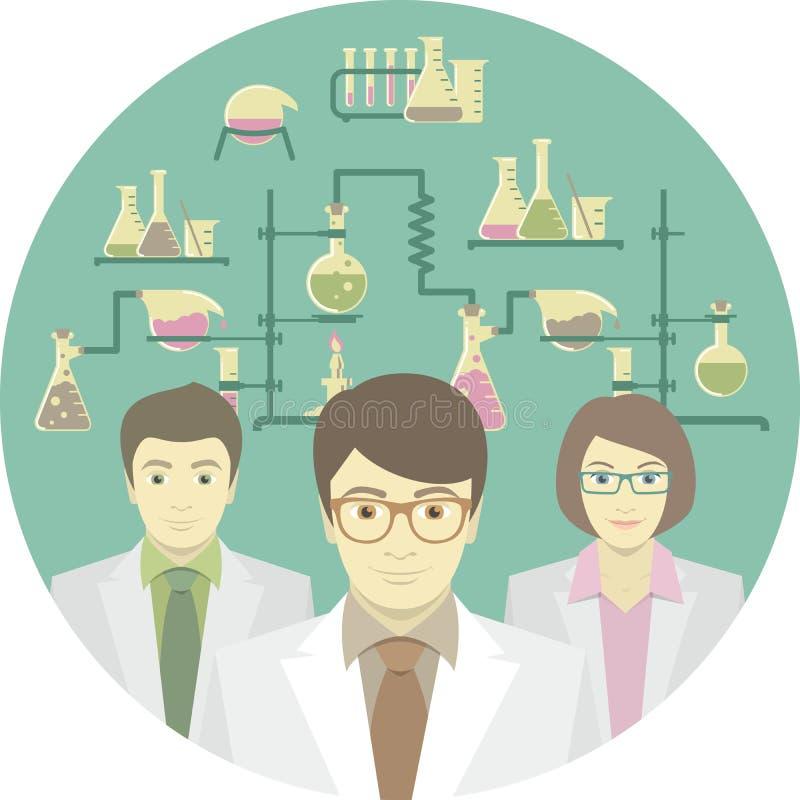科学家在化工实验室 库存例证