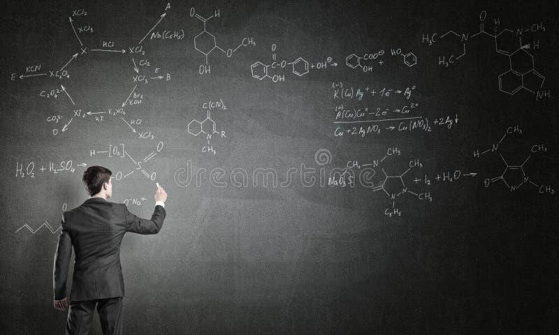 科学家在黑板的文字惯例 免版税图库摄影