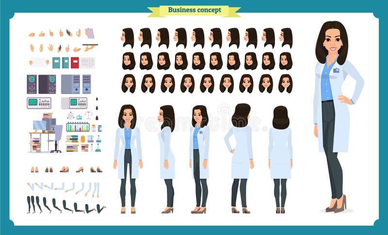 科学家字符创作集合 妇女在科学实验室工作在实验 全长,不同的看法,情感 皇族释放例证