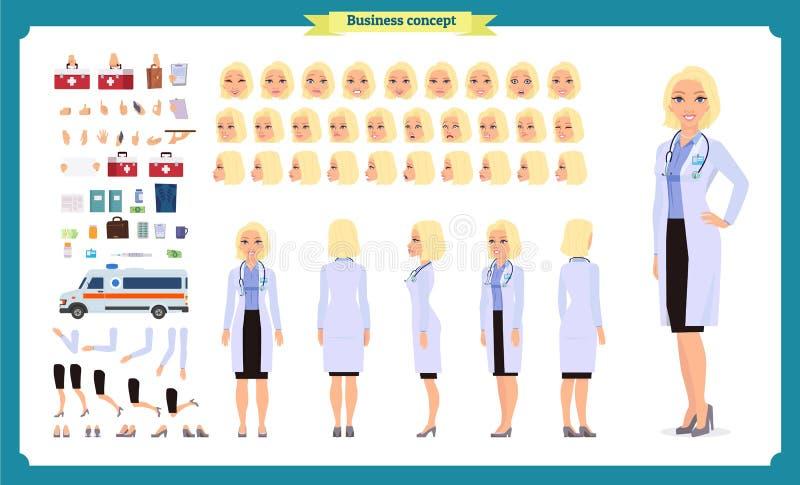 科学家字符创作集合 妇女在科学实验室工作在实验 全长,不同的看法,情感 向量例证
