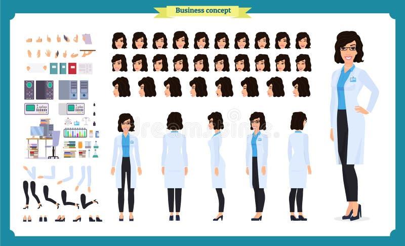 科学家字符创作集合 妇女在科学实验室工作在实验 全长,不同的看法, 向量例证