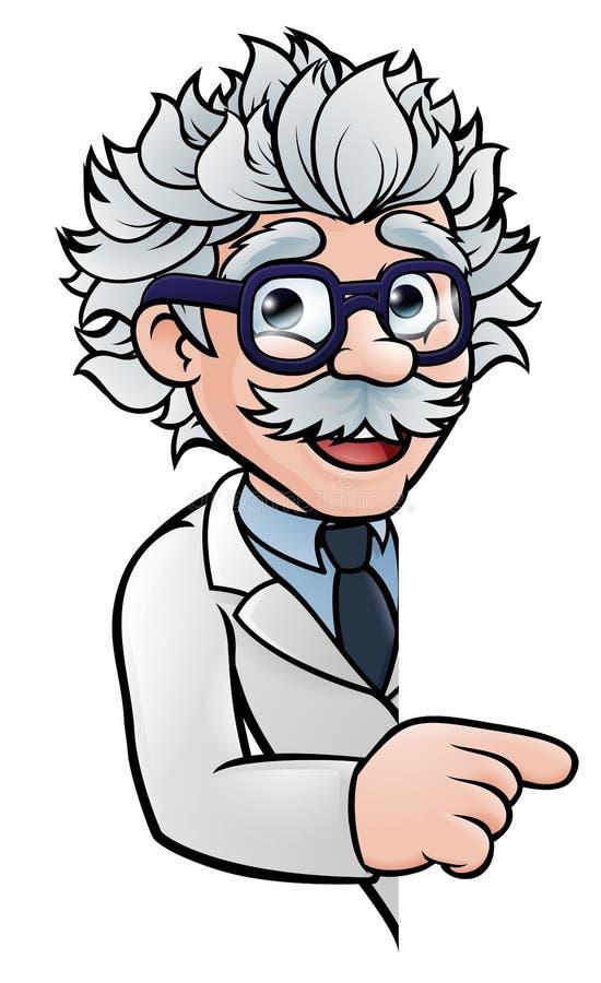 科学家指向标志的漫画人物 向量例证