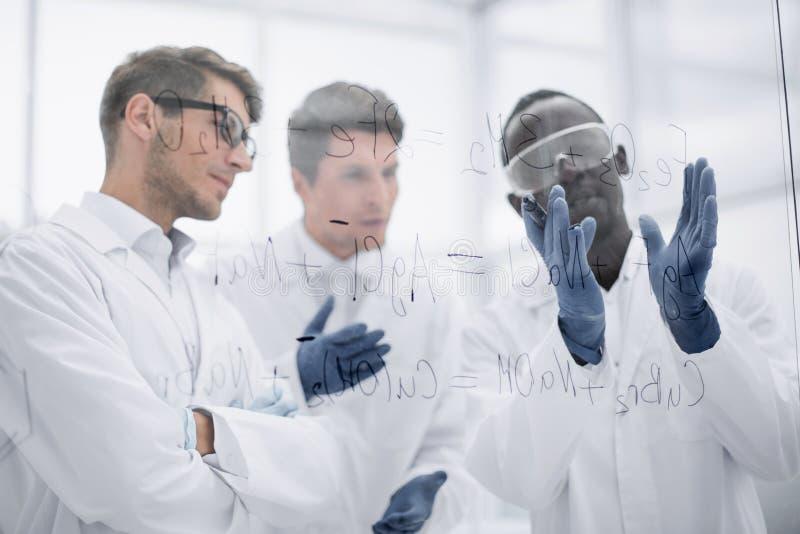 科学家谈话站立在玻璃委员会附近的小组 免版税库存照片