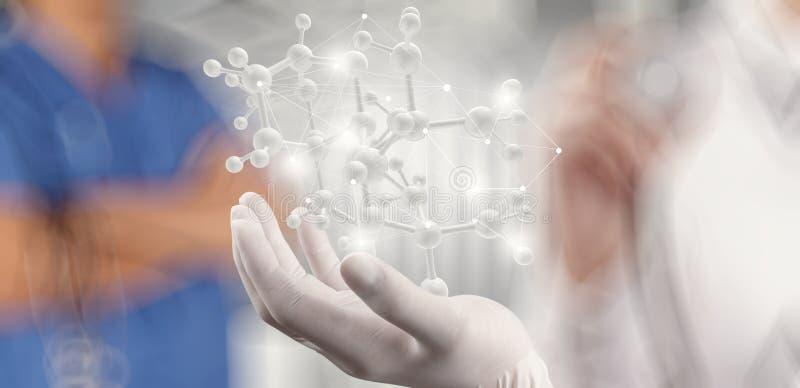 科学家医生手举行真正分子 库存图片