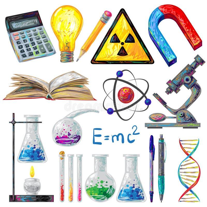 科学对象和被设置的惯例象 库存例证