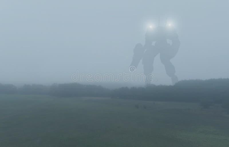 科学幻想小说军用巨型争斗机器 有人的特点的机器人在启示乡下 极糟的社会,科幻,机械和 免版税库存图片