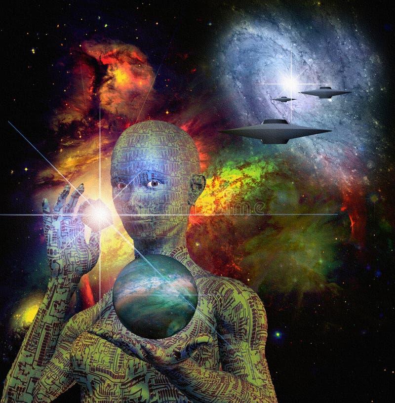 科学幻想小说场面和机器人 皇族释放例证