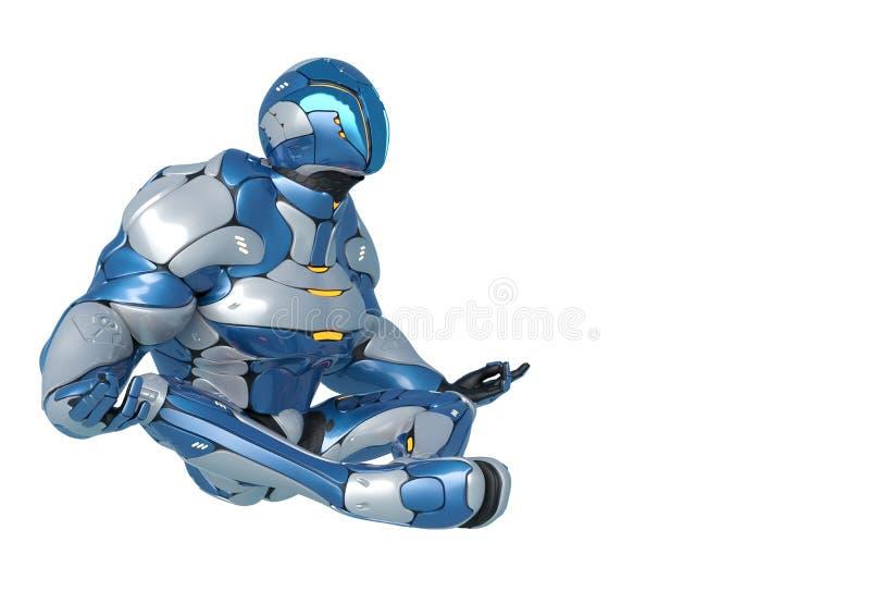 科学幻想小说宇航员动画片在白色背景中的做瑜伽侧视图 库存例证