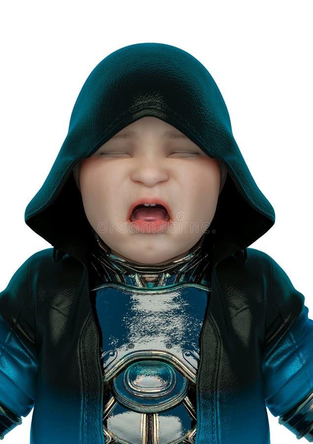 科学幻想小说成套装备的婴孩在一张哭泣的画象在白色背景和没有阴影中 库存例证